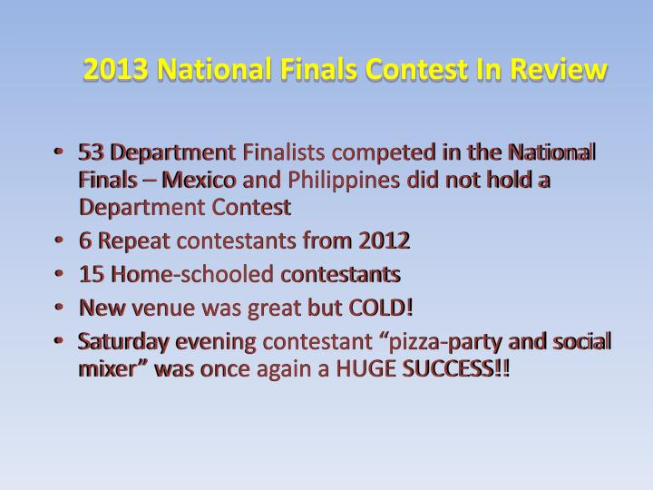 2013 National Finals Contest In Review