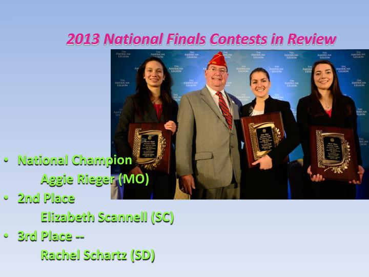 2013 National Finals Contests in Review