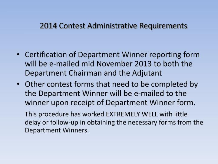 2014 Contest Administrative Requirements