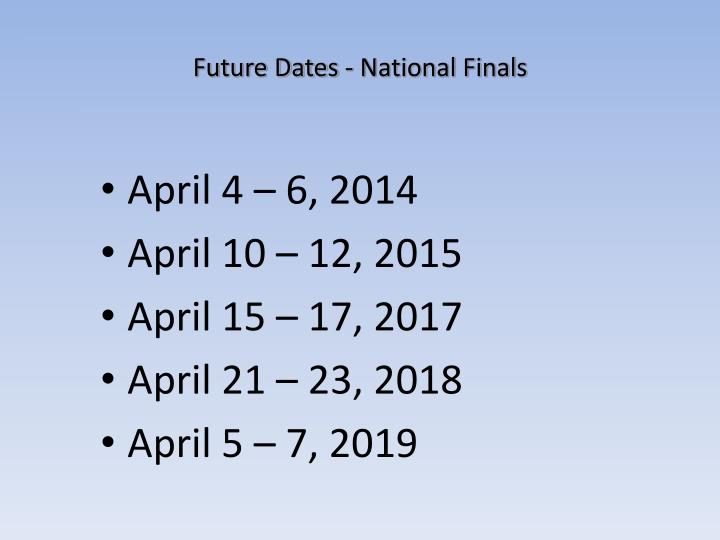 Future Dates - National Finals