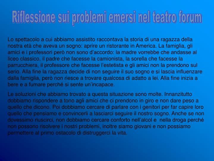 Riflessione sui problemi emersi nel teatro forum