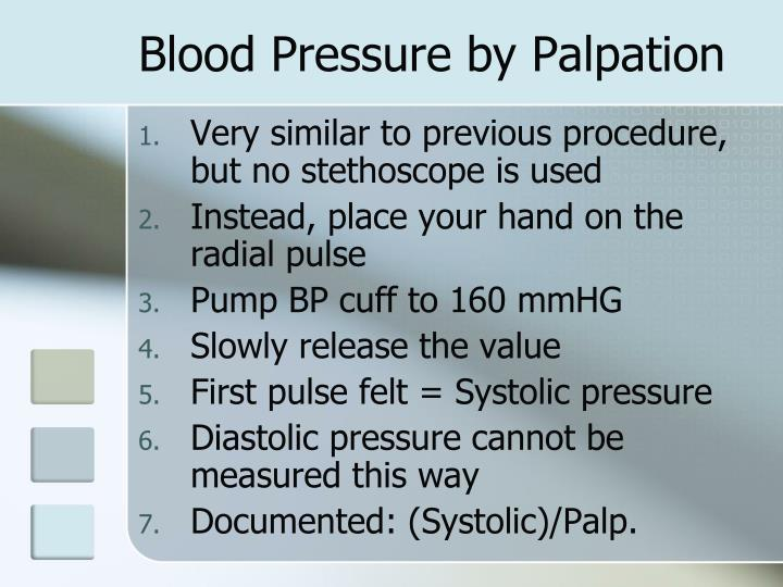 Blood Pressure by Palpation