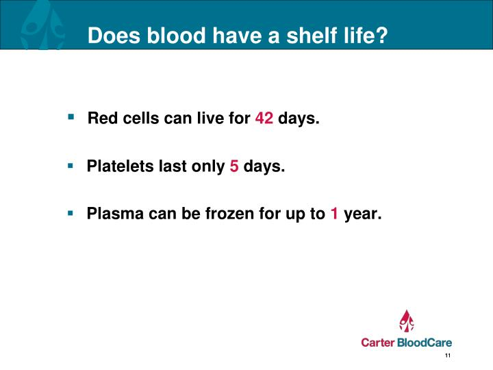 Does blood have a shelf life?