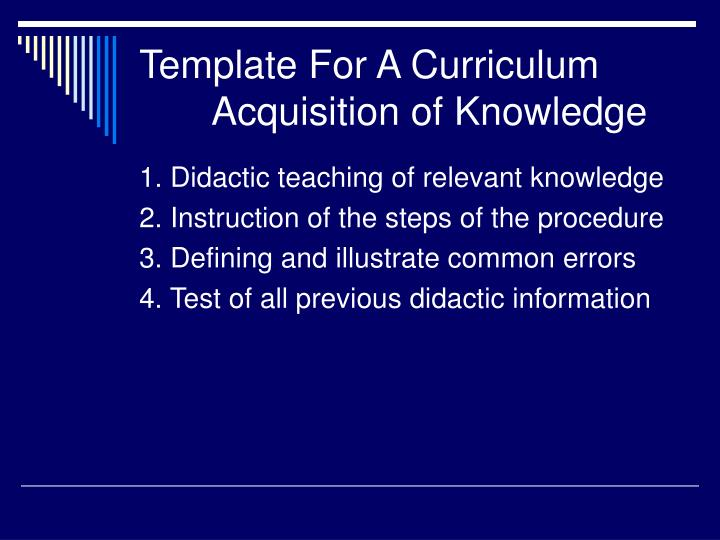 Template For A Curriculum