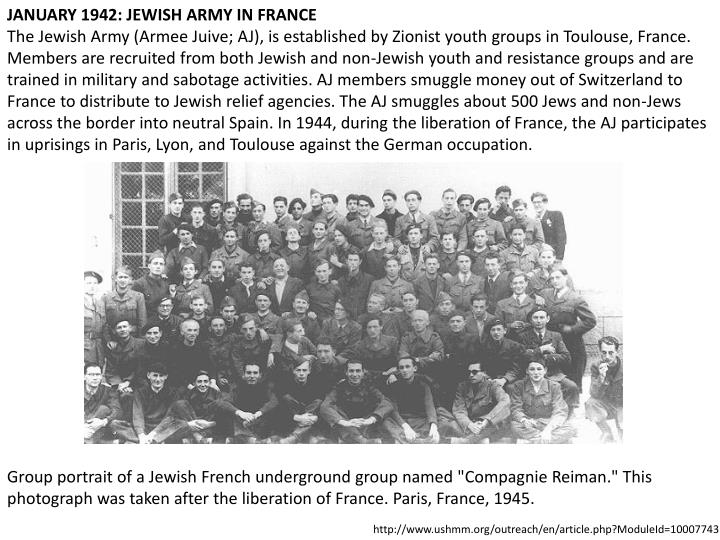 JANUARY 1942: JEWISH ARMY IN FRANCE