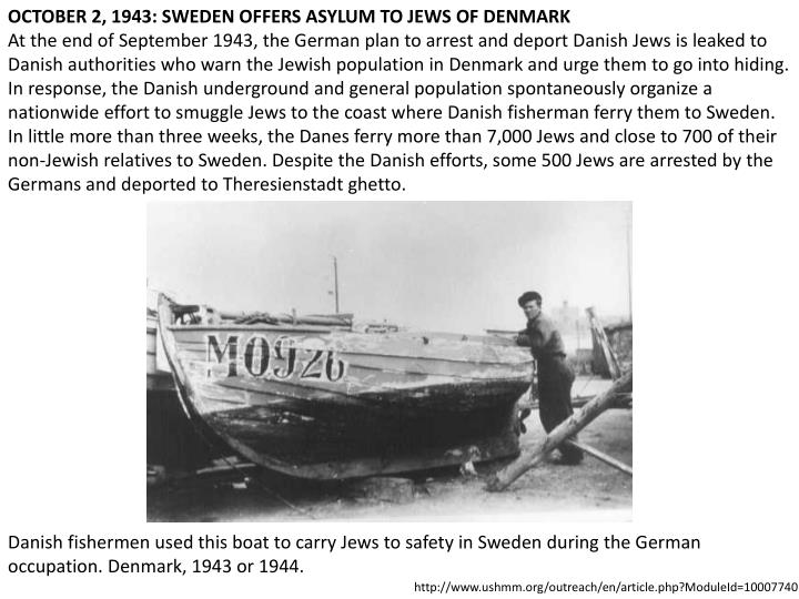 OCTOBER 2, 1943: SWEDEN OFFERS ASYLUM TO JEWS OF DENMARK