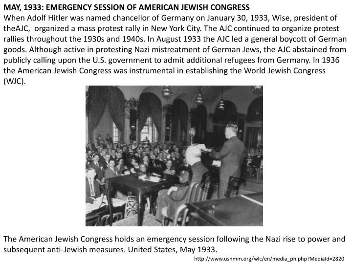 MAY, 1933: EMERGENCY SESSION OF AMERICAN JEWISH CONGRESS