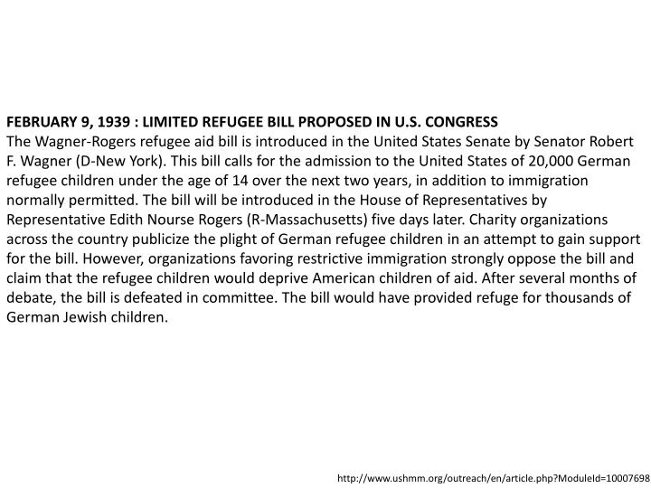 FEBRUARY 9, 1939 : LIMITED REFUGEE BILL PROPOSED IN U.S. CONGRESS