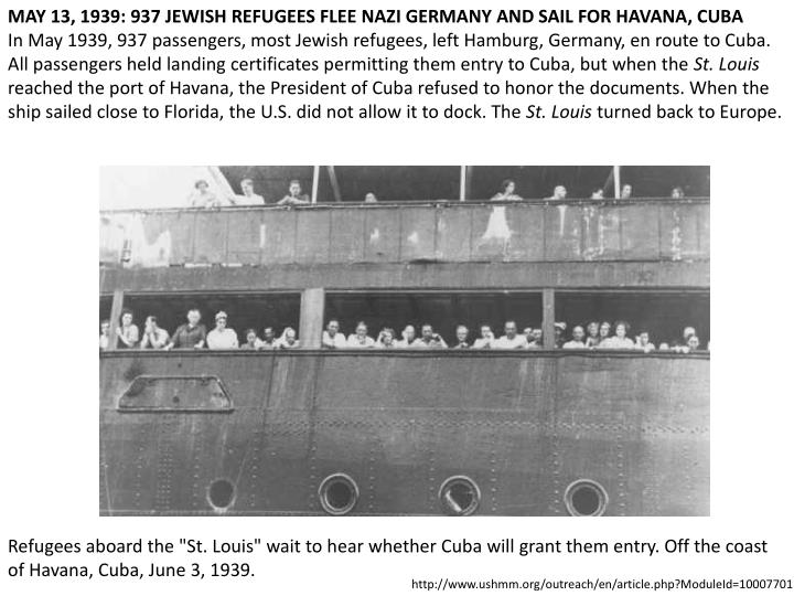 MAY 13, 1939: 937 JEWISH REFUGEES FLEE NAZI GERMANY AND SAIL FOR HAVANA, CUBA