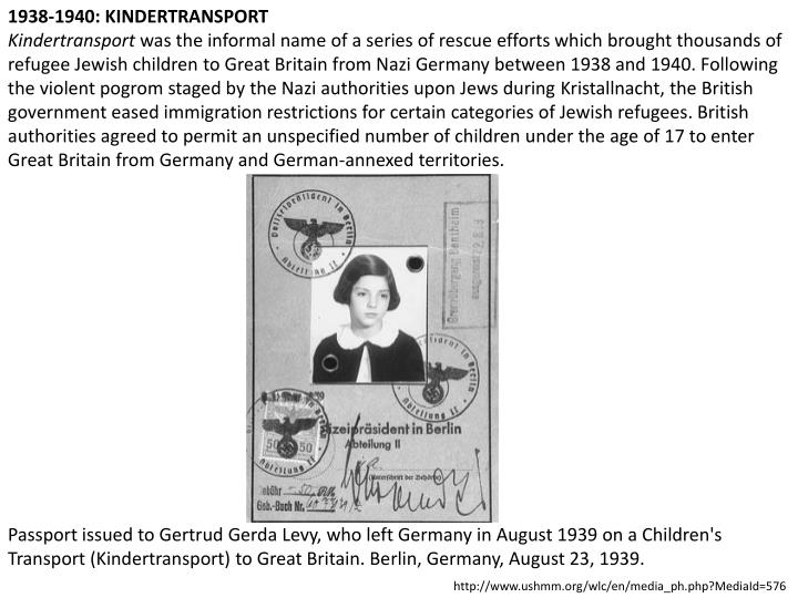1938-1940: KINDERTRANSPORT