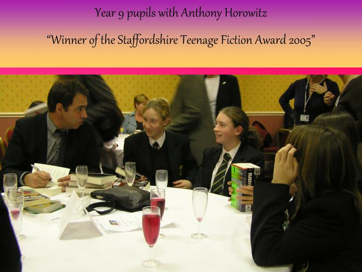 Year 9 pupils with Anthony Horowitz