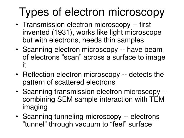 Types of electron microscopy