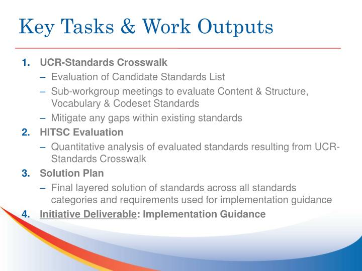 Key Tasks & Work Outputs