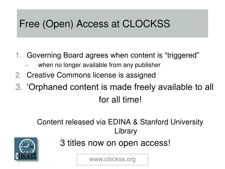 Free (Open) Access at CLOCKSS
