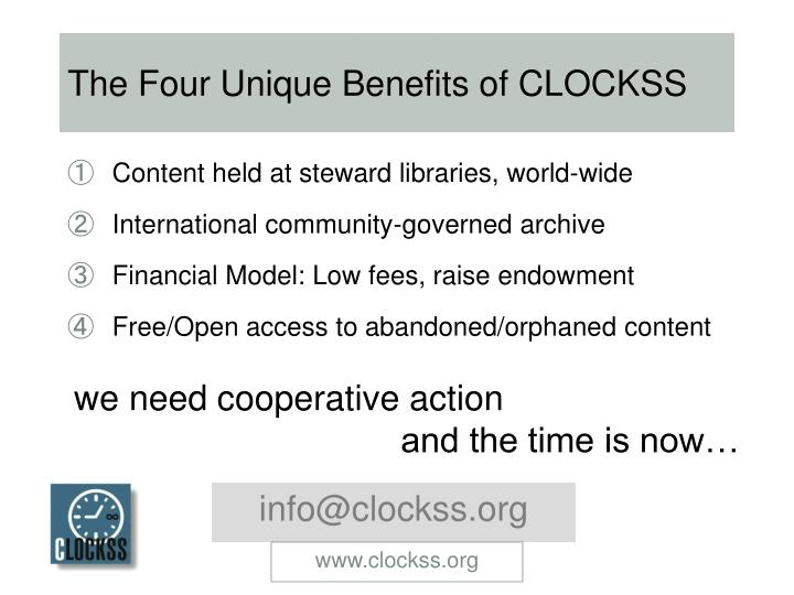 The Four Unique Benefits of CLOCKSS