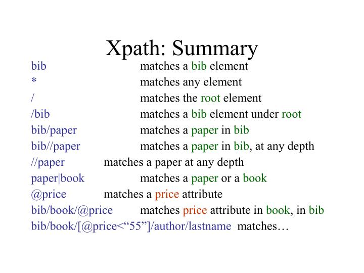 Xpath: Summary
