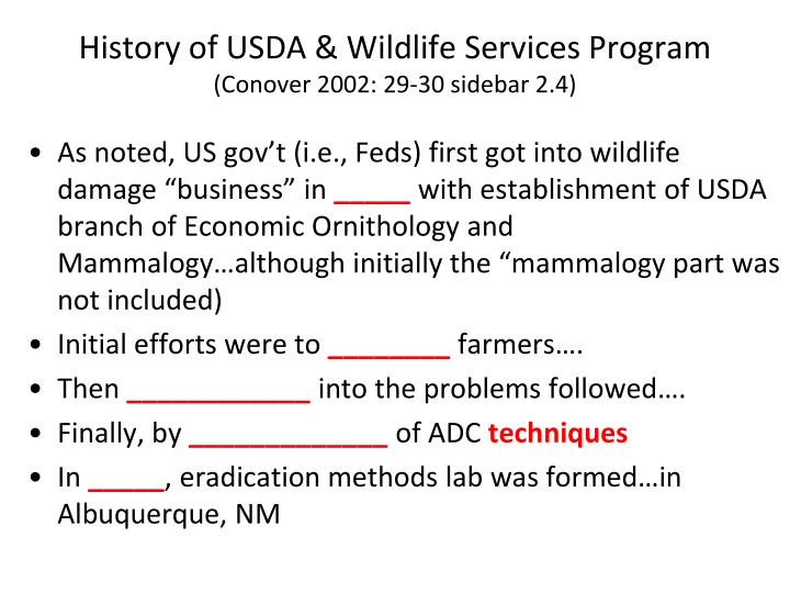 History of USDA & Wildlife Services Program