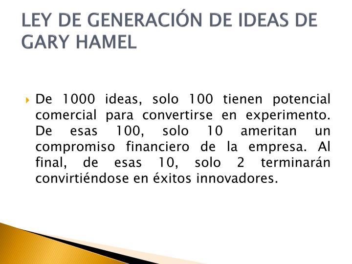 LEY DE GENERACIÓN DE IDEAS DE GARY HAMEL