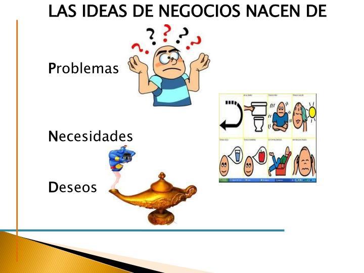 LAS IDEAS DE NEGOCIOS NACEN DE