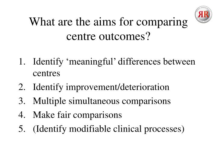 What are the aims for comparing centre outcomes?
