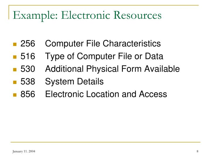 Example: Electronic Resources