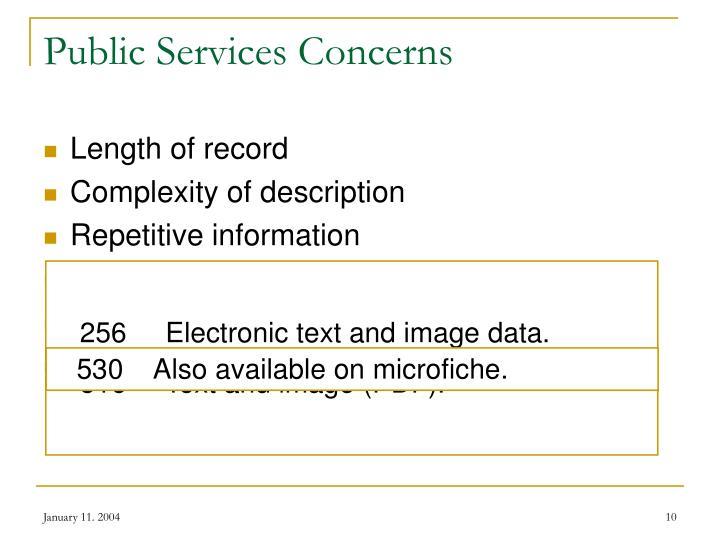 Public Services Concerns