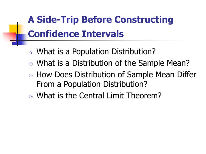 A Side-Trip Before Constructing Confidence Intervals