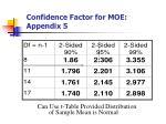 confidence factor for moe appendix 5