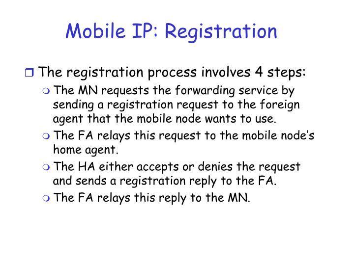 Mobile IP: Registration