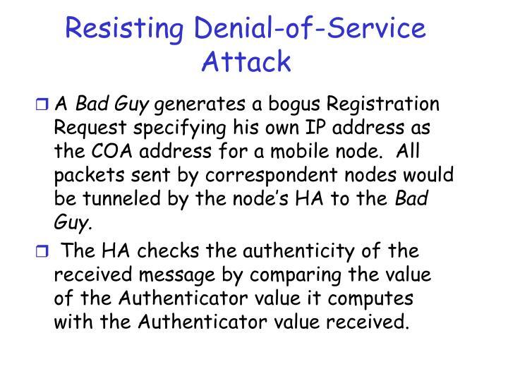 Resisting Denial-of-Service Attack