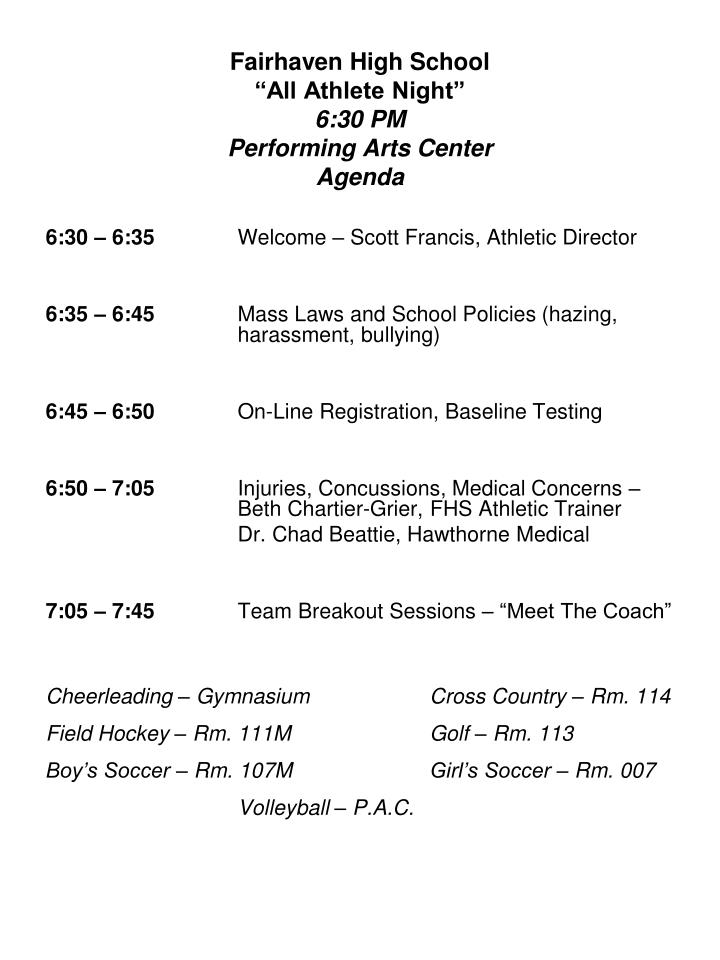 Fairhaven high school all athlete night 6 30 pm performing arts center agenda