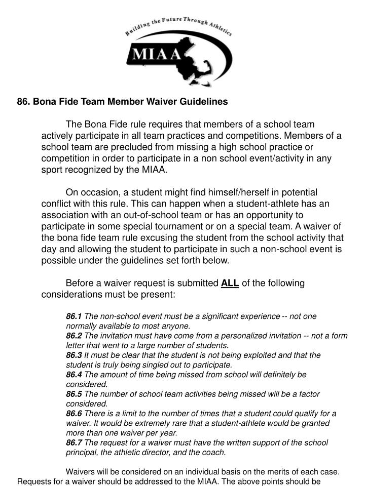 86. Bona Fide Team Member Waiver Guidelines