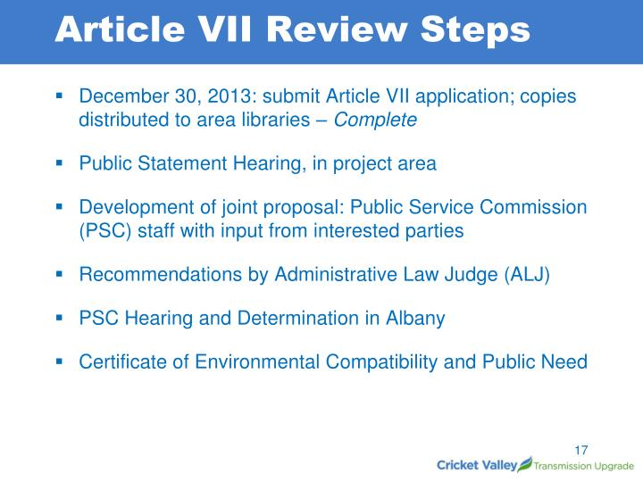 Article VII Review Steps