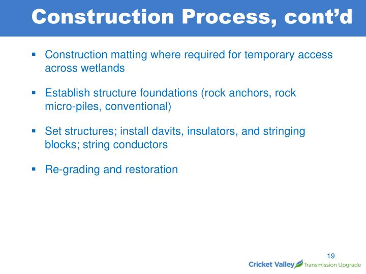 Construction Process, cont'd