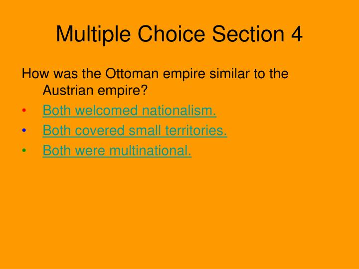 Multiple Choice Section 4