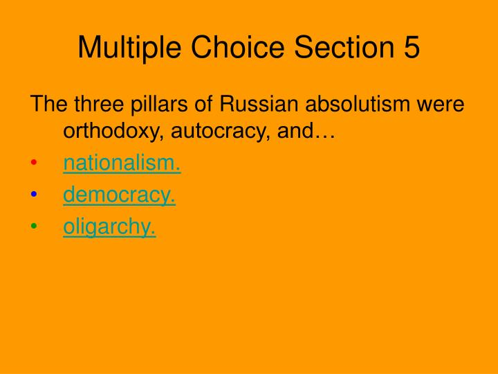 Multiple Choice Section 5
