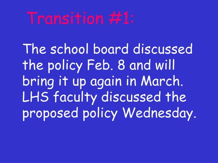 Transition #1: