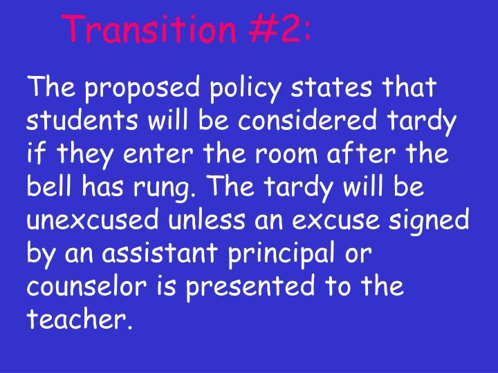 Transition #2: