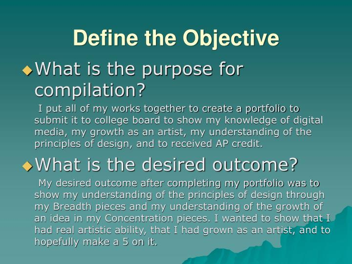 Define the Objective