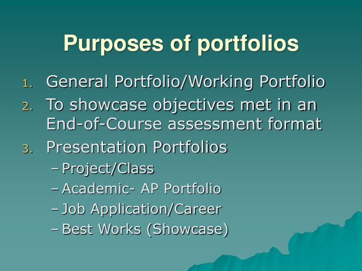 Purposes of portfolios