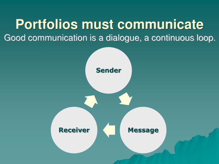 Portfolios must communicate