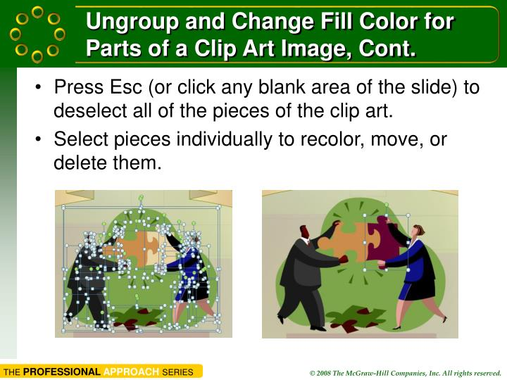 Ungroup and Change Fill Color for Parts of a Clip Art Image, Cont.