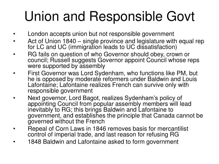 Union and Responsible Govt