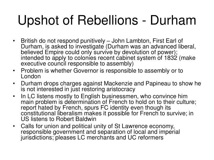 Upshot of Rebellions - Durham