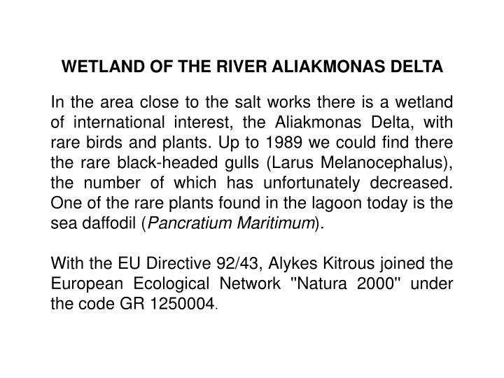 WETLAND OF THE RIVER ALIAKMONAS DELTA