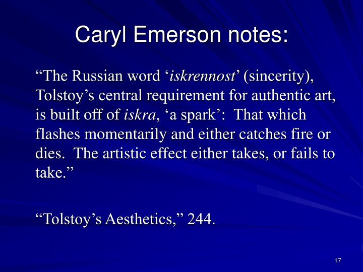 Caryl Emerson notes: