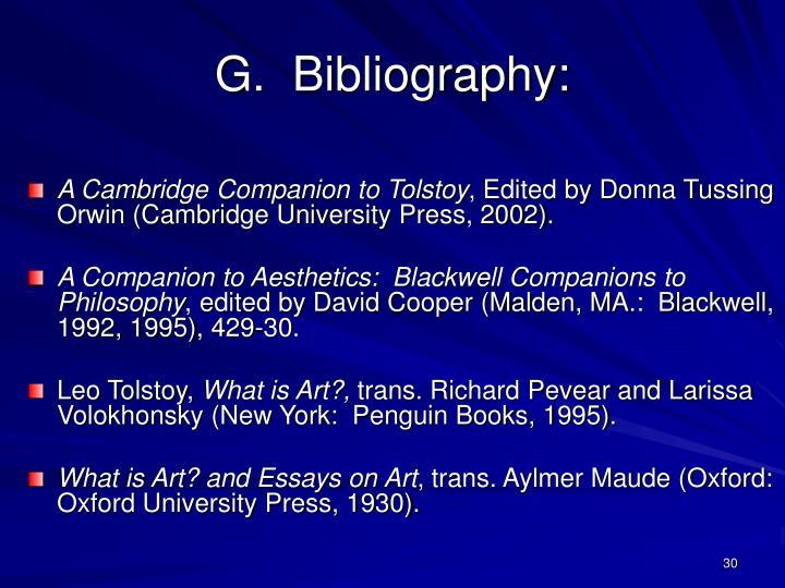 G.  Bibliography: