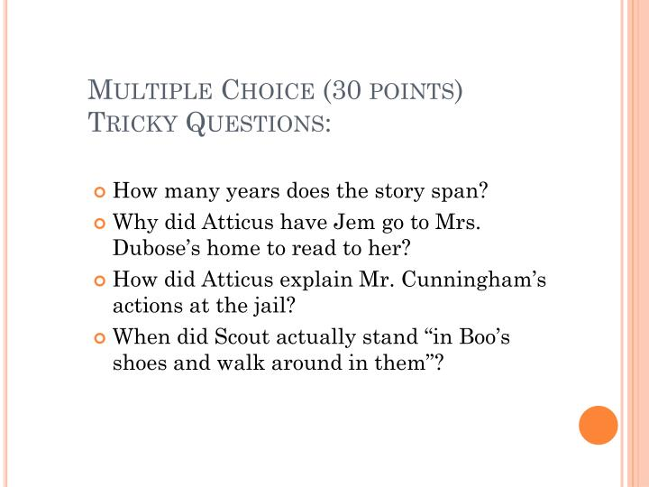 Multiple Choice (30 points)