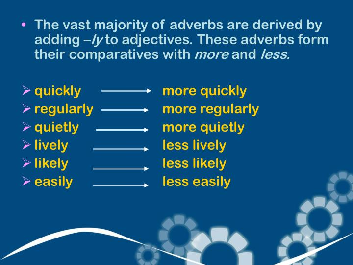 The vast majority of adverbs are derived by adding –