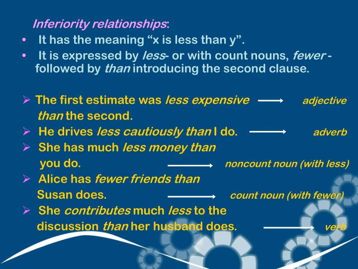 Inferiority relationships